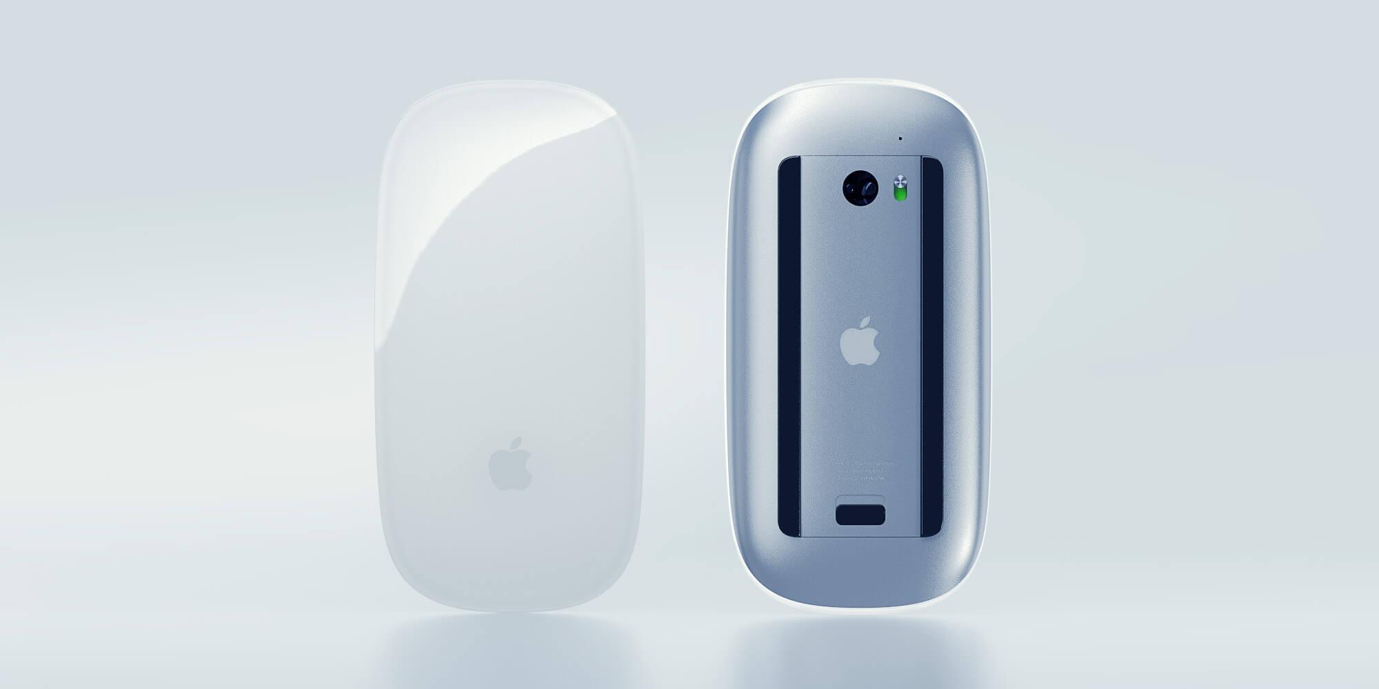 Vorder- und Rückseite einer Apple Mouse vor hellem Hintergrund