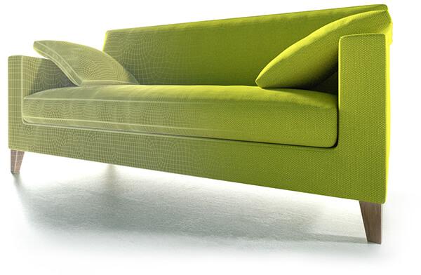 Rendering eines 3D-Sofas inclusive Gitternetz